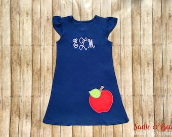 Monogrammed Girls Dress, Ruffle Dress, girls monogram, Back to school, back to school dress, Monogram, Dress, Baby, toddler, apple dress