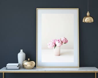 Peony print, flower print, pink peonies, flower photography, Botanical print, plant print, peonies photo, flowers in vase, peonies wall art