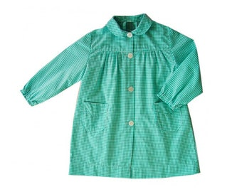 Apron nursery blue green gingham - school gingham Blouse checkered green pockets and buttons sleeves long boy or girl