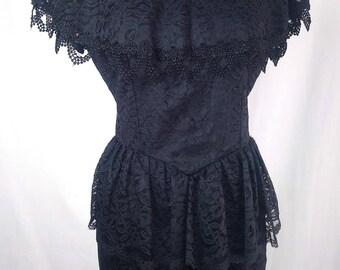 Vintage 80s Black Lace Dress, Peplum, long pencil skirt, Goth
