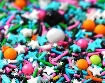 Socialite Sprinkle Blend, Neon Rainbow Sprinkles, Black Sprinkles, Crunchy Sprinkles, Glitter SprinklesFancy Sprinkles