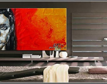 Portrait black white red yellow xxl large handpainted art canvas exclusive modern texture
