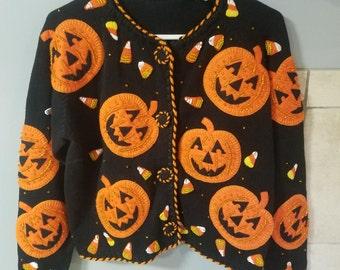 Michael Simon Pumpkin Cardigan-sweater-1994-Candy Corn-Teacher-Ugly Sweater