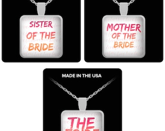 """THE BRIDE! Mother of the Bride, Sister of the Bride! on Silver Necklace with Pendant! Wear this proudly on 22"""" silver plated necklace!"""