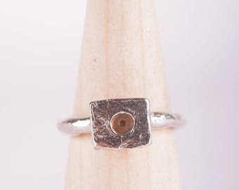 Organic Sterling Silver Ring With Transparent Pink Enamel, Sterling Silver