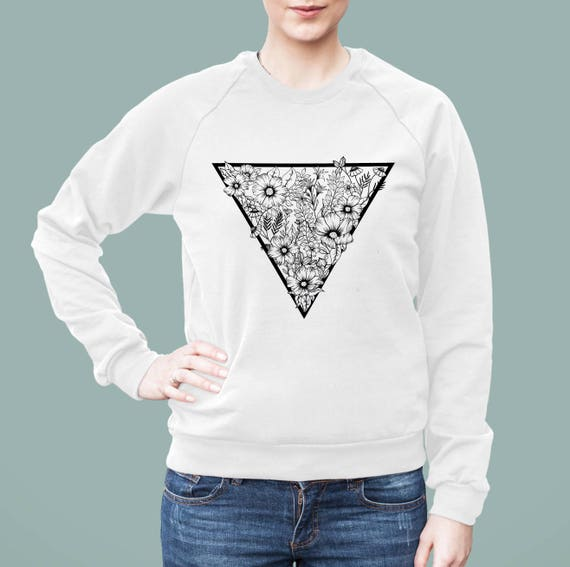 Triangle flowers | American Apparel Unisex California Fleece Raglan | Graphic Sweatshirt | Pen and Ink art| Tattoo Style | ZuskaArt