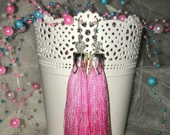 Elegant handmade earrings brushes, pink silk earrings