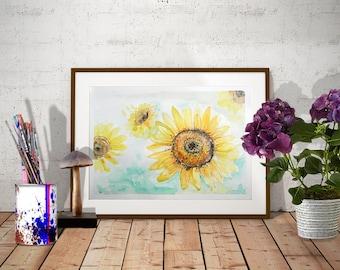 Sunflower watercolor painting Original yellow flower wall art Botanical watercolor art Aquarelle Original fine art Sunflower wall decor
