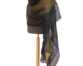 Mustard scarf, Shawl, Wrap, Felted scarf, Merino wool, scarf, Nuno felted scarf, womens scarf, oversized scarf, Merino wool scarf, Sciarpa