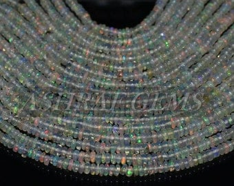 40% Off, Natural ETHIOPIAN OPAL, 2.5 - 3.5 mm Size, Smooth Roundel Beads, +++AAA Quality Opal Beads Op#2897