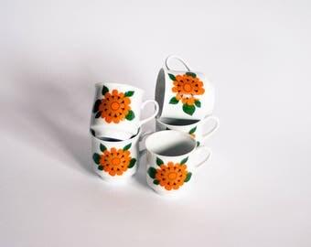 Retro Coffee Cups, Geometric Coffee Cups, Floral Pattern Espresso Cups, Flower Power Coffee Cups, Bavaria Coffee Cups, Mod Coffee Cups