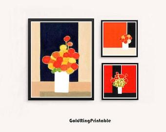 Printable floral art print,set of 3,still life wall art print,abstract botanical,printable wall art,instant digital download,red black white