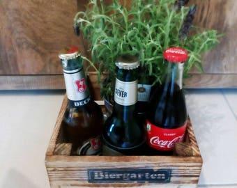 Beer garden wooden crate, gifts for men, basket, gift box, crate, storage box, wooden crate, crate, crate, men's Gift