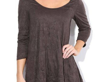 Brown Scoop Neck Tunic Top, Crinkled Tunic , Vintage Tunic, Espresso Size S M L - Made in USA