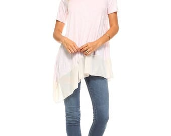 Women's Pink Assymetrical Tunic Top, Scoop Neck, Chiffon, Contrast, Size S M L XL - Made in USA