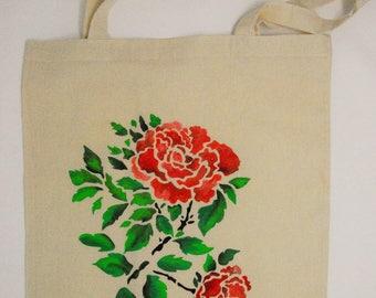 """Tote bag """"Roses"""", cotton bag, shopping bag, shopper bag, reusable bag, hand painted bag, canvas bag, shoulder bag"""