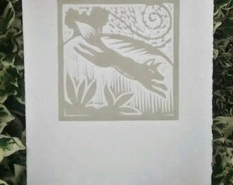 Lino cut, Printmaking, Fox, Ideal gift