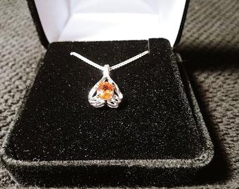Orange Spessartite Garnet Solid Sterling Silver Necklace