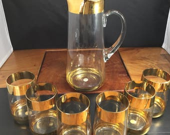 Romanian Gold Rimmed Pitcher and 6 Glasses Set