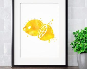 Lemon Art, Lemon Decor, Lemon Wall Art, Lemon Watercolor, Lemon Kitchen, Lemon Watercolor Prints, Lemon Art Print, Lemon Home Decor