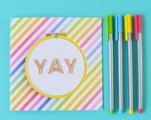 Congratulations  // Well Done // Celebration Card 'Yay' - Handstitched Card - Embroidery