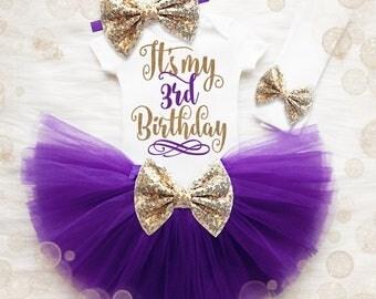 3rd Birthday Outfit Girl | 3rd Birthday Shirt Girl | Purple And Gold Birthday Outfit | 3rd Birthday Tutu Set | Girl 3rd Birthday Tutu Set