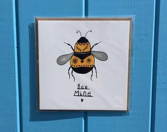 Bee Mine Bumble Bee Valentines Birthday Romantic Cute Greetings Card