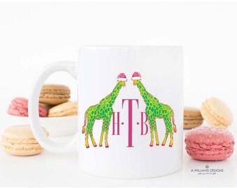 Monogrammed Preppy Coffee Mug/unique Mug/Lilly inspired Coffee Mug/Adorable Christmas Gift/-Monogramed Coffee mug/sizes-11oz or 15oz