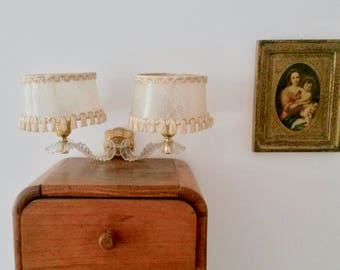 Sconce & Lampshades, Dual Arm Wall Light, 1960s Sconce, Kitsch Light, 1960s Plastic Wall Light, Gold and White