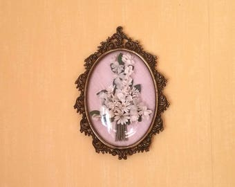Oval Picture, Cotton Flowers, Gold Frame, Gold Picture Frame, Pretty Oval Frame, Floral Decor