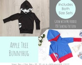 Apple Tree Bunnyhug Grow With Me Hoodie *PDF Pattern* Pullover Hooded Sweatshirt Grow with me Pattern Baby Kids Clothing Sewing Bunny Hug