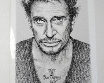 Johnny Hallyday Poster print A4 portrait hand drawing of Johnny Hallyday