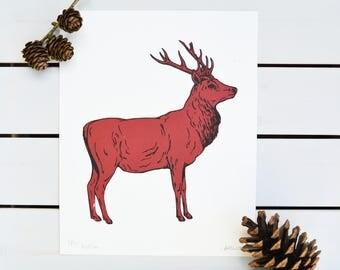 Screen Print Red Deer, Original Nature Print, Wall Art Print, Wildlife Print, Nursery Print, Gift Ideas, Handprinted  Homeware Illustration