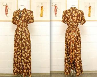 1940's Brown Hawaiian Rayon Dress / Dressing Gown / Tropical / Tiki / World War II / Rare Collectible Retro