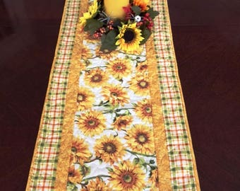 Amazing 46 Inch Sunflower Quilted Table Runner, Large Sunflower Table Runner,  Sunflower Centerpiece Runner,