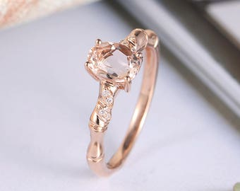 Oval Cut Morganite Ring Rose Gold Engagement Ring Diamond Leaf Band Half Eternity Unique Bridal Anniversary Gift For Her Women Peachy