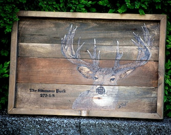 Woodburned Simmons Big Buck with Free Shipping