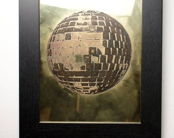 Mirror-ball Brass Etching | Framed Image | Wall Art | Art | Etched Image