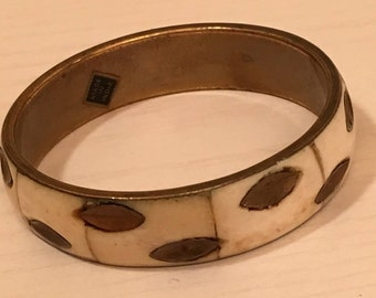 Vintage Brass and Bone Bracelet - Bohemian Indian Style with Carved Bone