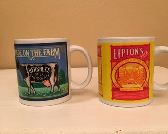 Hershey's Milk Chocolate and Lipton's Finest Tea Cups / Mugs