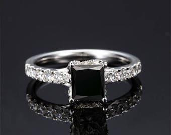 Black Diamond Engagement Ring 14k White Gold / Yellow Gold / Rose Gold Princess Black Diamond Ring Modern Engagement Ring Proposal Ring