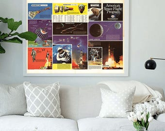 Space Missions : Mercury, Gemini, Apollo.America's space flight program, 1969.Nasa photos.Art print.