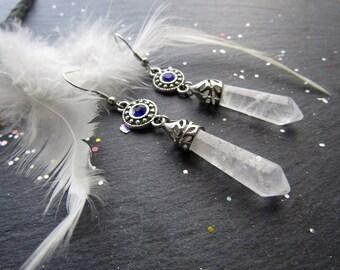Clear Quartz and rhinestone Earrings, Crystal earrings, Wedding Gift, Bride Earrings, Bridesmaid Gift, Elegant Earrings, Quartz earrings