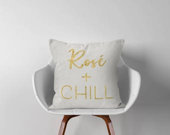 "Rosé Throw Pillow - Throw Pillow Cover - Throw Pillows - Pillow Cover - 18"" - 18x18 - Pillow Cover - Decorative Pillow Cover - P003"