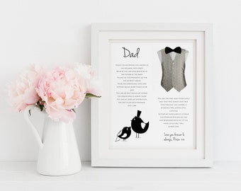 Personalised Father of the Bride Print - Father of the Bride Poem - Father of the Bride Gift - Dad Wedding Gift - Dad Thank You (UNFRAMED)