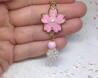 UV resin Sakura cherry blossom pendant necklace