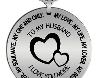 Manly Gold-plated or Stainless Steel Round Pendant Necklace - Gift for Husband - anniversary - birthday - Valentines day - special occasion