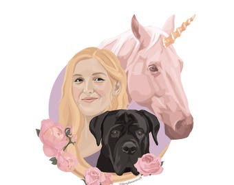 Custom portrait, Pet portrait, Family portrait, Couple portrait, Illustration, Instant download, Digital art, Portraits, Pet memorial, Gift