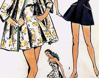 """Vintage 1950's Sewing Pattern Pleated Bathing Suit Kimono Beach Coat Pin Up Bust 34"""" Rockabilly"""