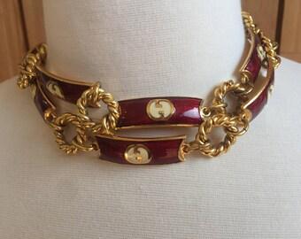 Vintage GUCCI GG Enamel Monogram Chain Belt Bracelet Necklace Red & Gold! RARE!!!